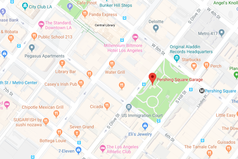 Local map of Pershing Square Parking lot